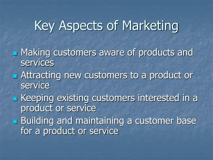 Key aspects of marketing