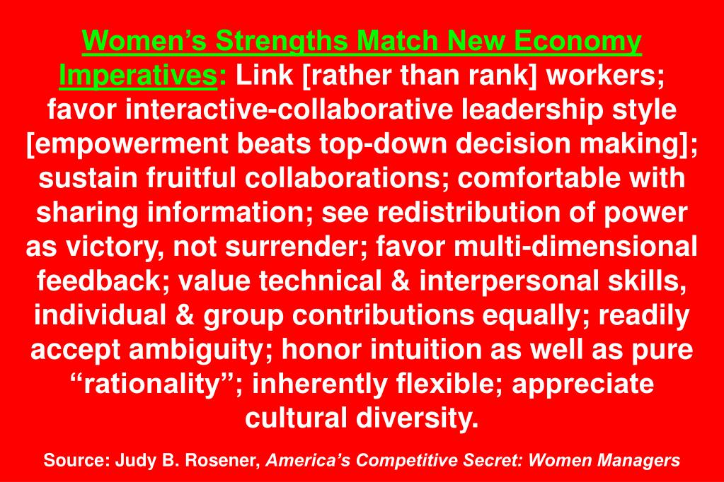 Women's Strengths Match New Economy Imperatives