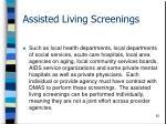 assisted living screenings