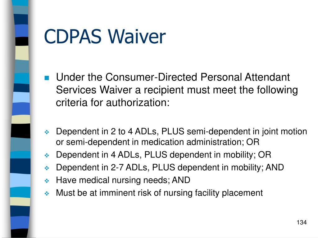 CDPAS Waiver