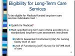 eligibility for long term care services