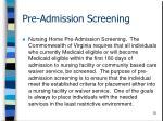 pre admission screening