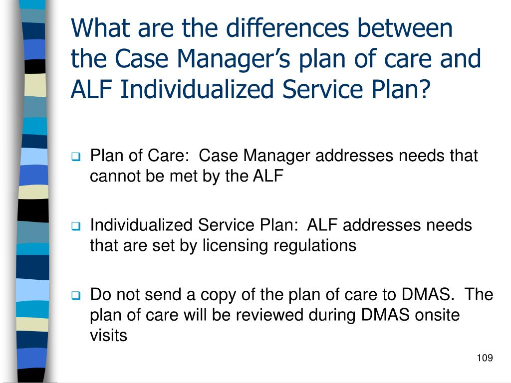 What are the differences between the Case Manager's plan of care and ALF Individualized Service Plan?