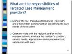 what are the responsibilities of targeted case management providers107