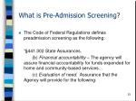 what is pre admission screening23