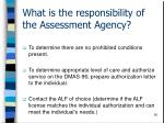 what is the responsibility of the assessment agency90