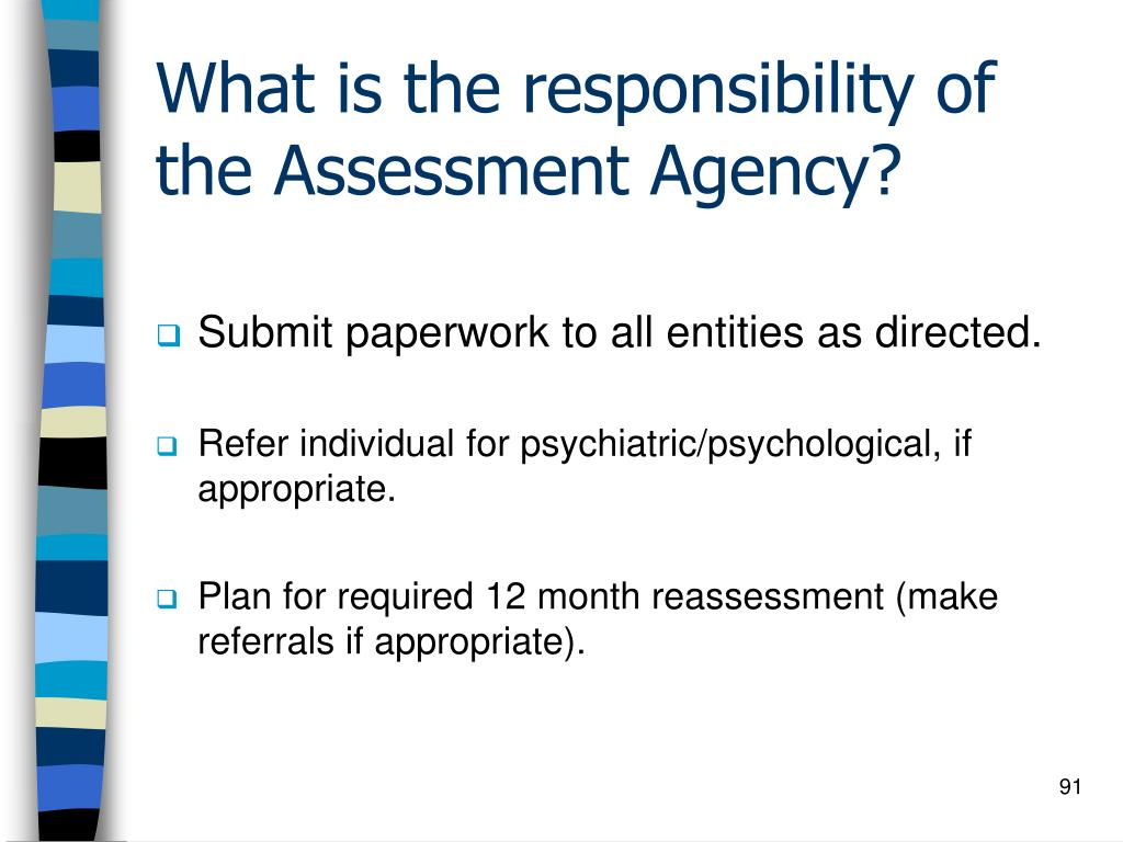 What is the responsibility of the Assessment Agency?