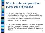 what is to be completed for public pay individuals