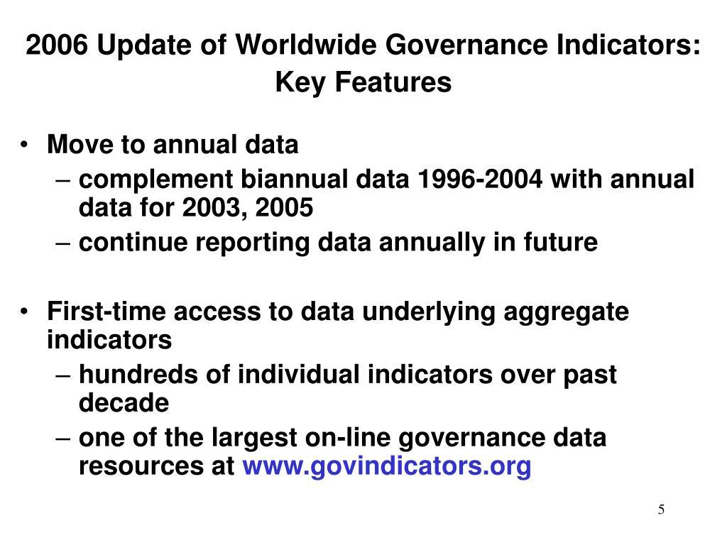 2006 Update of Worldwide Governance Indicators: