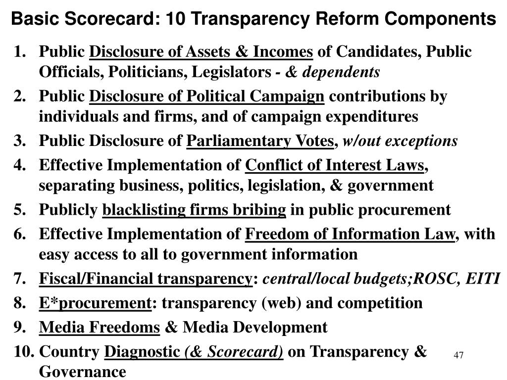 Basic Scorecard: 10 Transparency Reform Components
