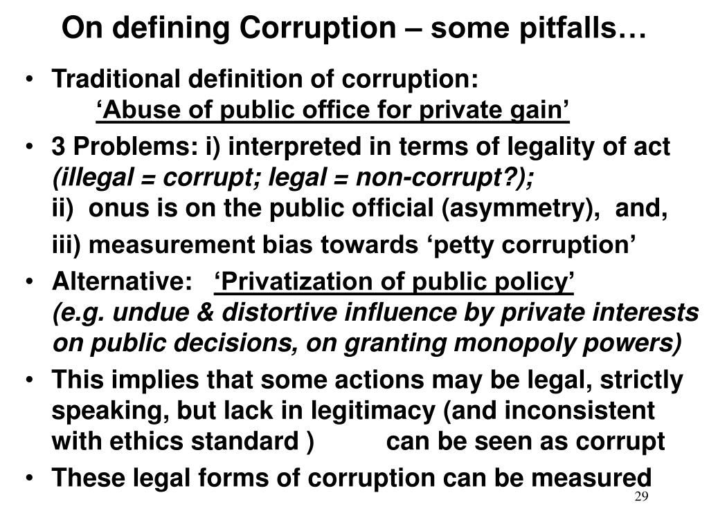 On defining Corruption – some pitfalls…