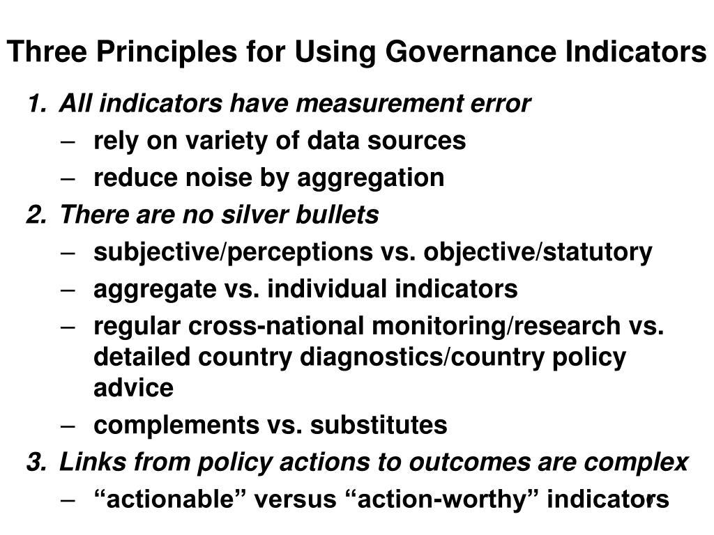 Three Principles for Using Governance Indicators