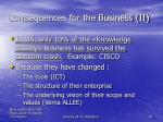 consequences for the business ii