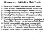 governance rethinking main tenets
