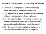 national governance a working definition