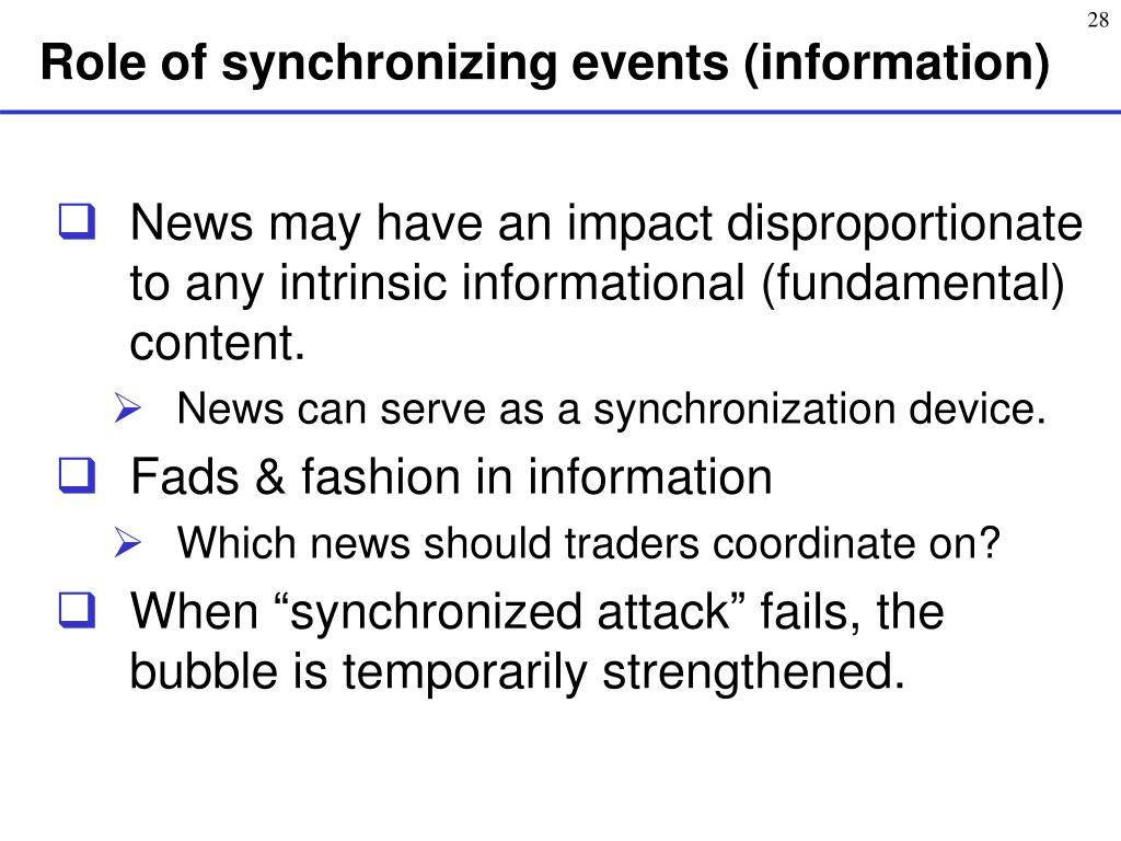Role of synchronizing events (information)