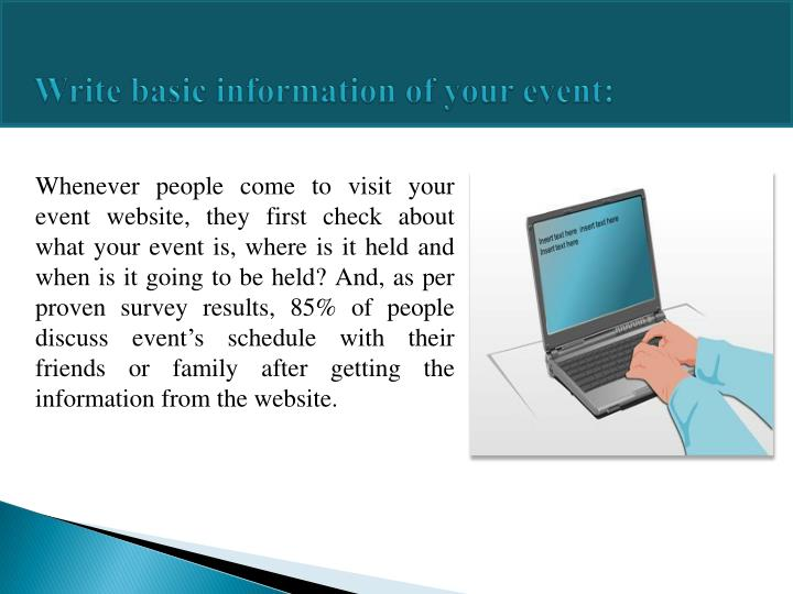 Write basic information of your event