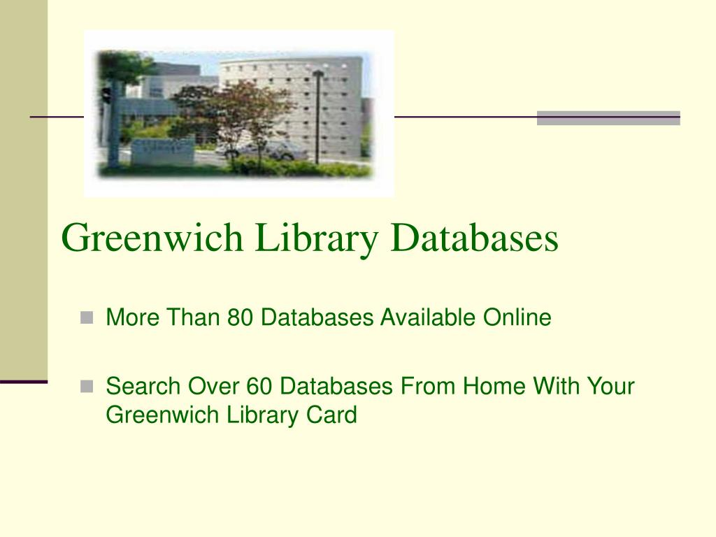 greenwich library databases l.