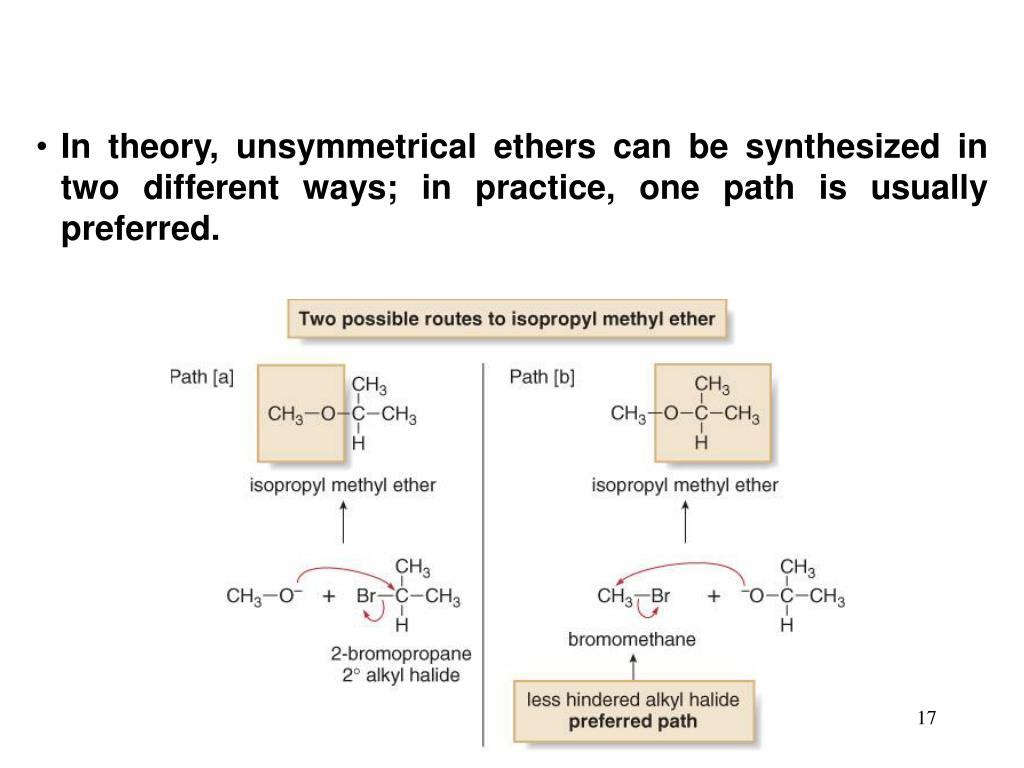 In theory, unsymmetrical ethers can be synthesized in two different ways; in practice, one path is usually preferred.