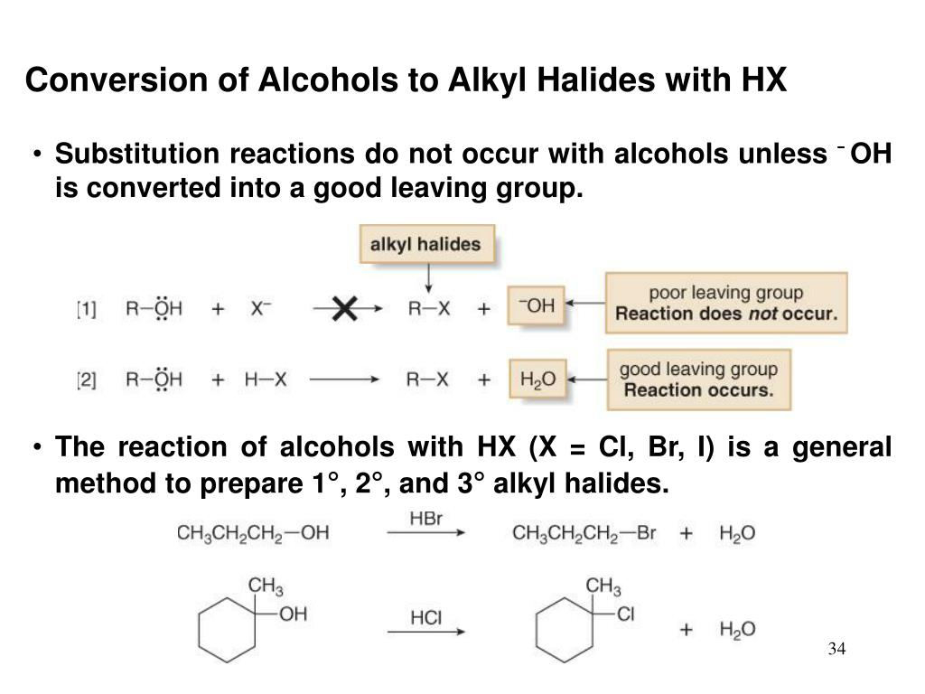 Conversion of Alcohols to Alkyl Halides with HX