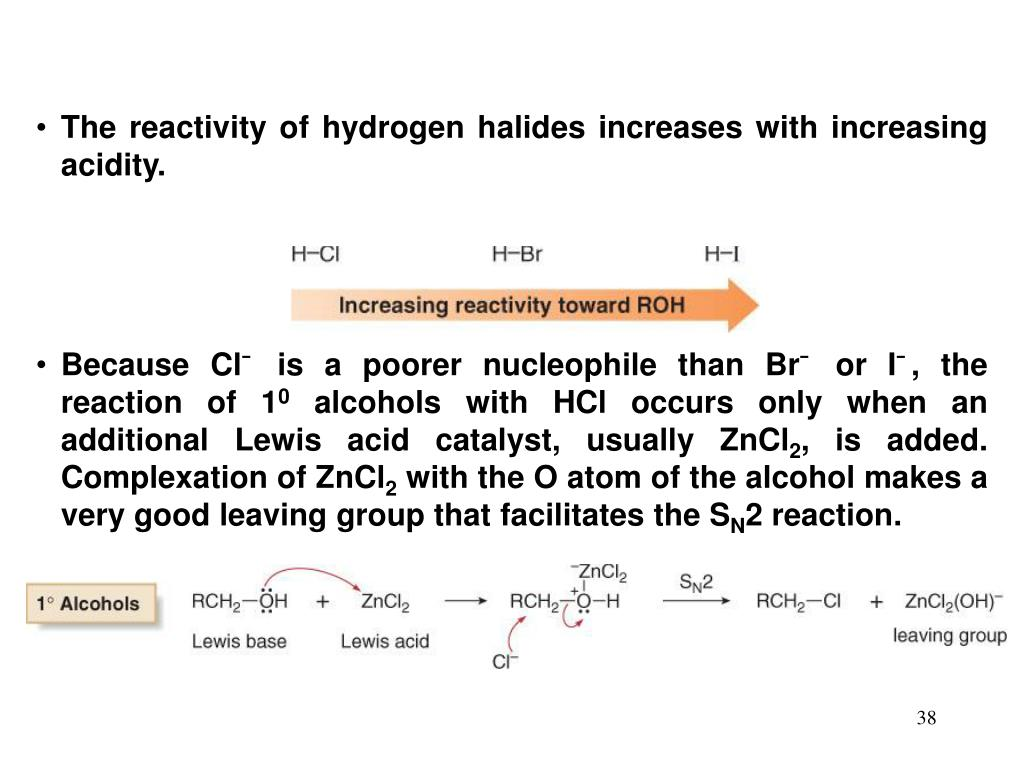 The reactivity of hydrogen halides increases with increasing acidity.