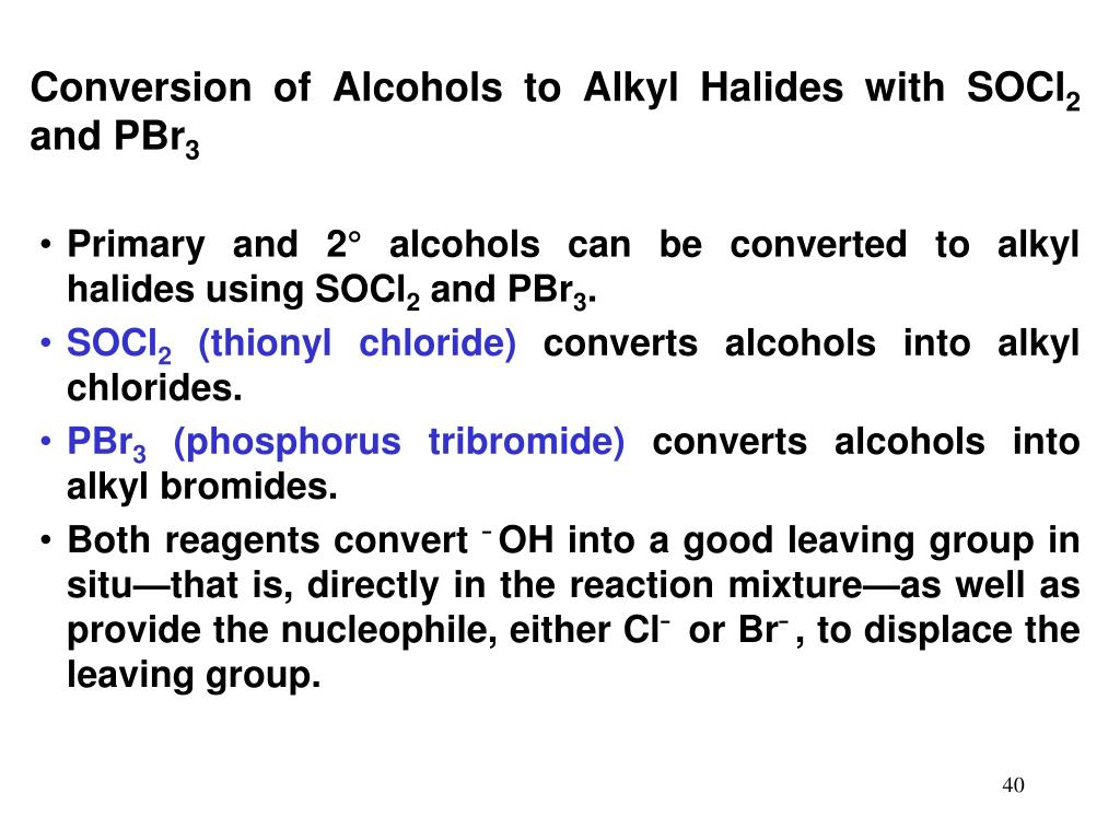 Conversion of Alcohols to Alkyl Halides with SOCl