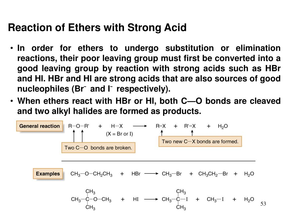 Reaction of Ethers with Strong Acid