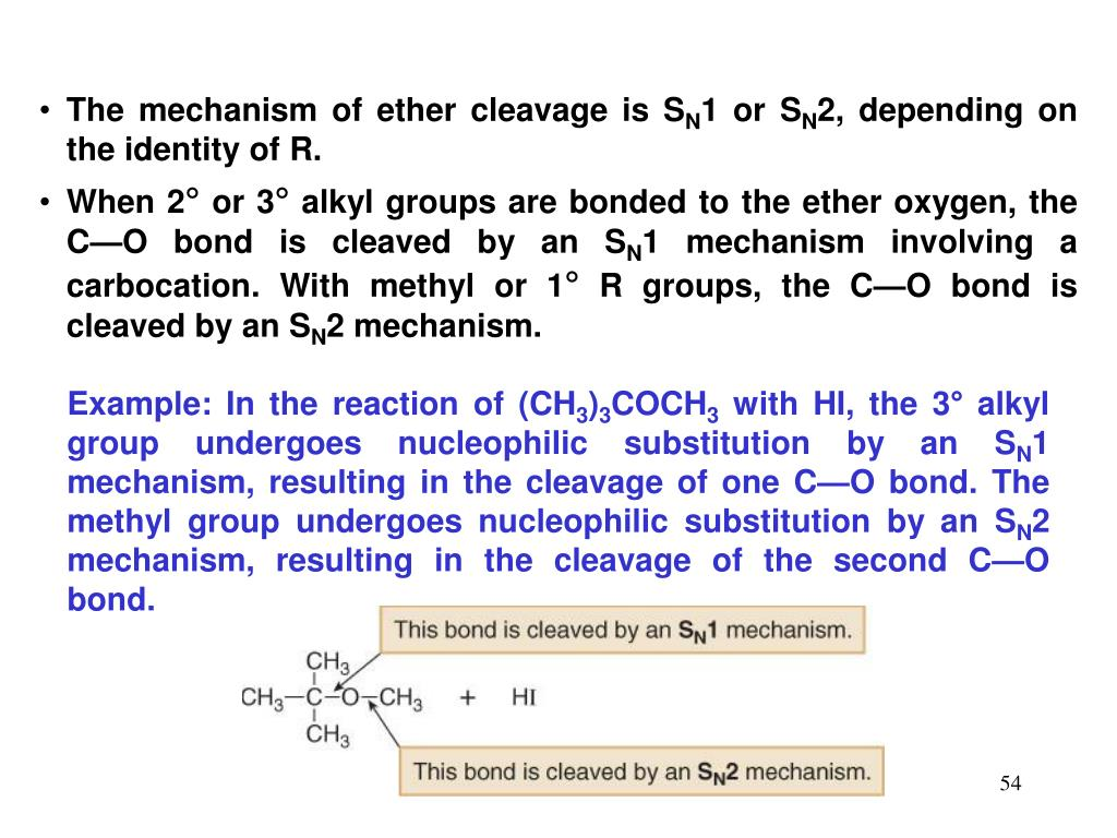 The mechanism of ether cleavage is S