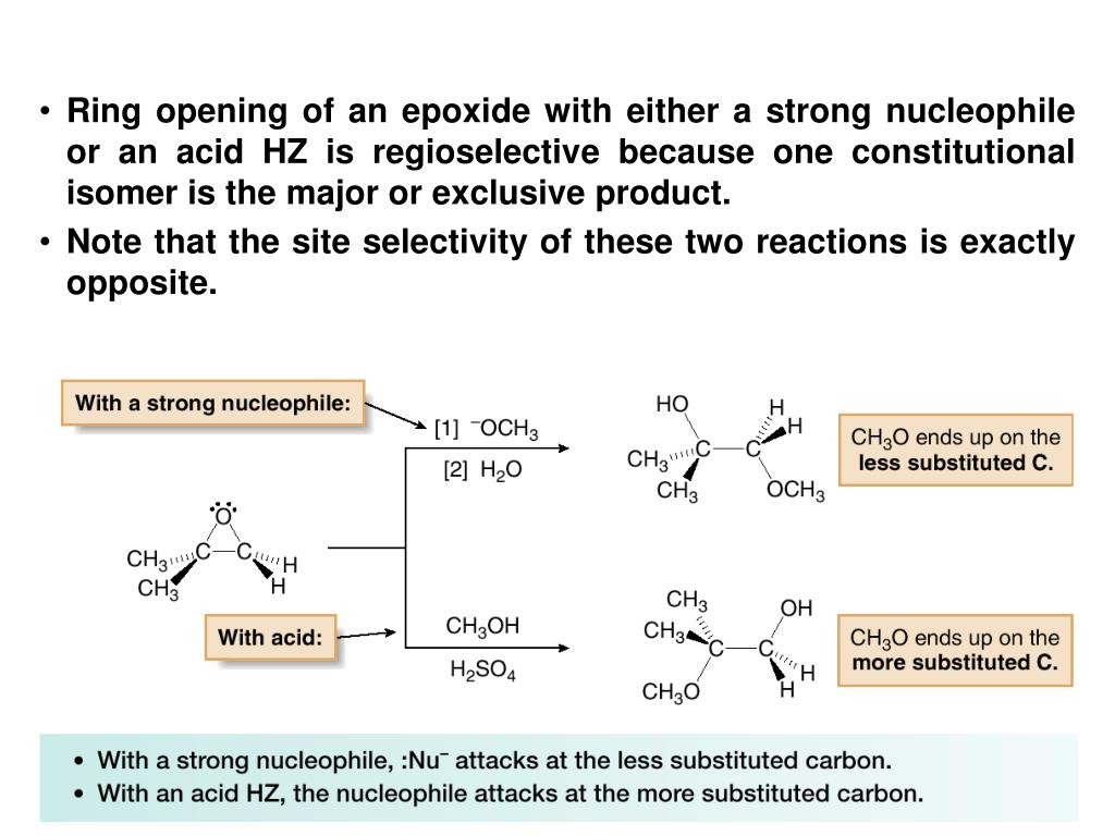 Ring opening of an epoxide with either a strong nucleophile or an acid HZ is regioselective because one constitutional isomer is the major or exclusive product.