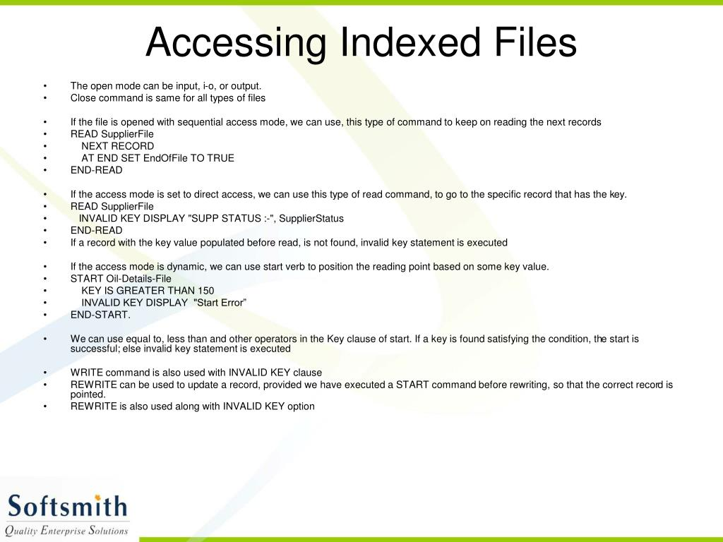 Accessing Indexed Files
