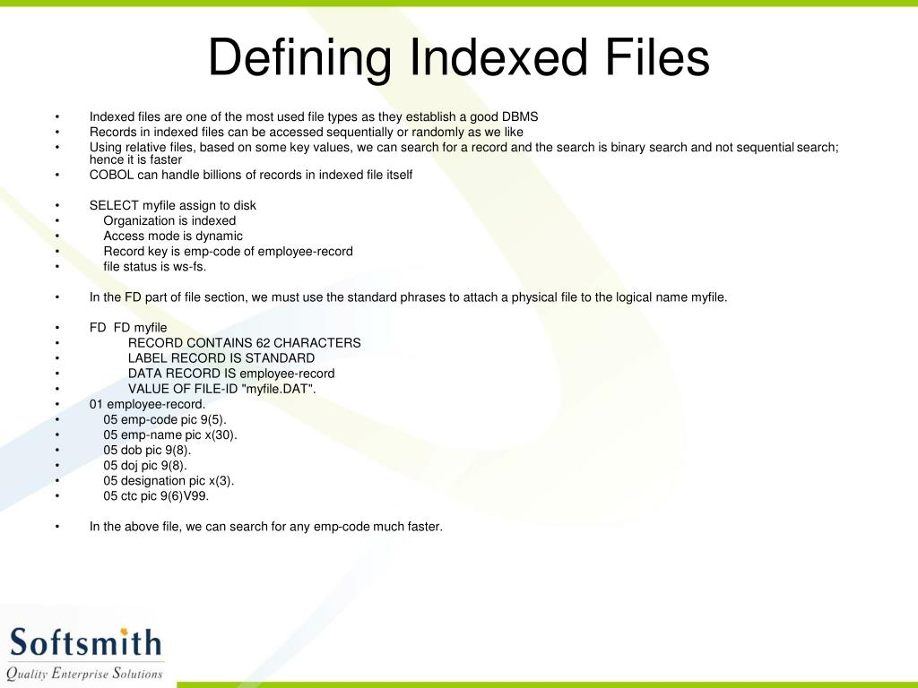 Defining Indexed Files