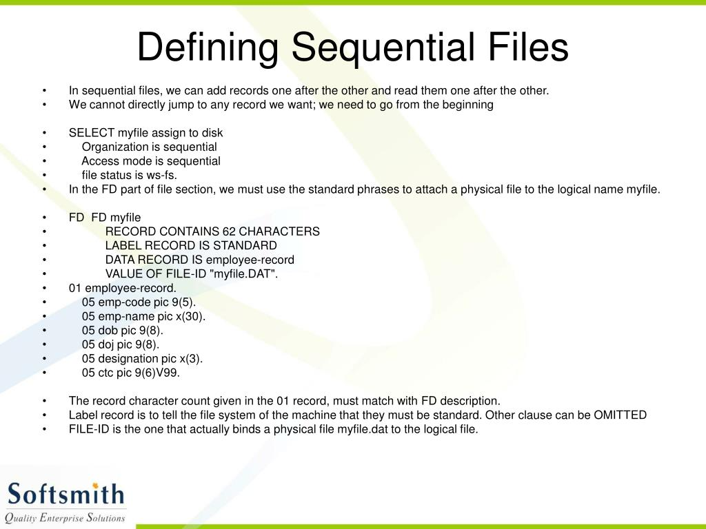 Defining Sequential Files