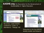 aashe org the association for the advancement of sustainability in higher education