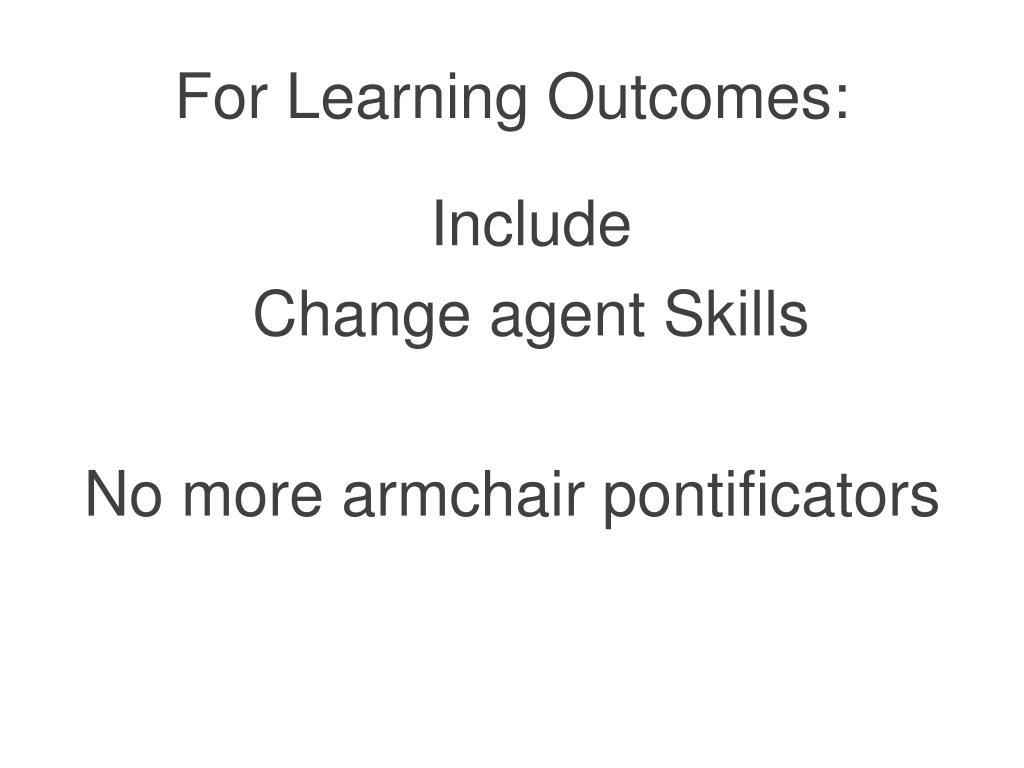 For Learning Outcomes: