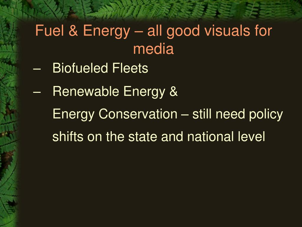Fuel & Energy – all good visuals for media