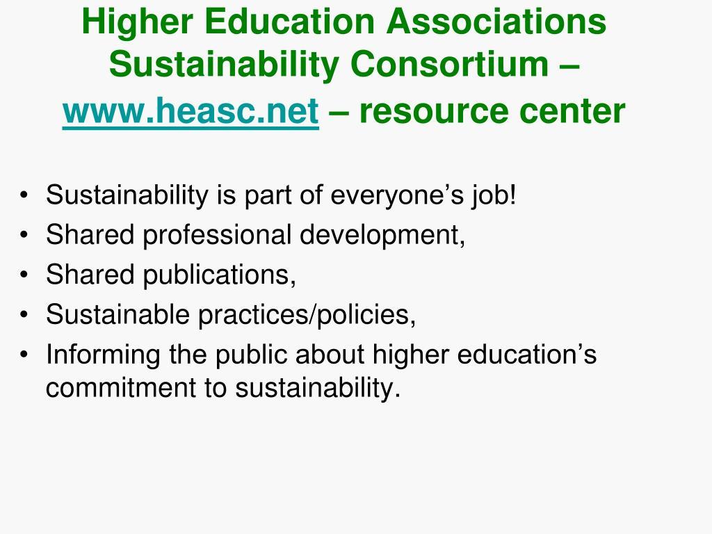 Higher Education Associations Sustainability Consortium –