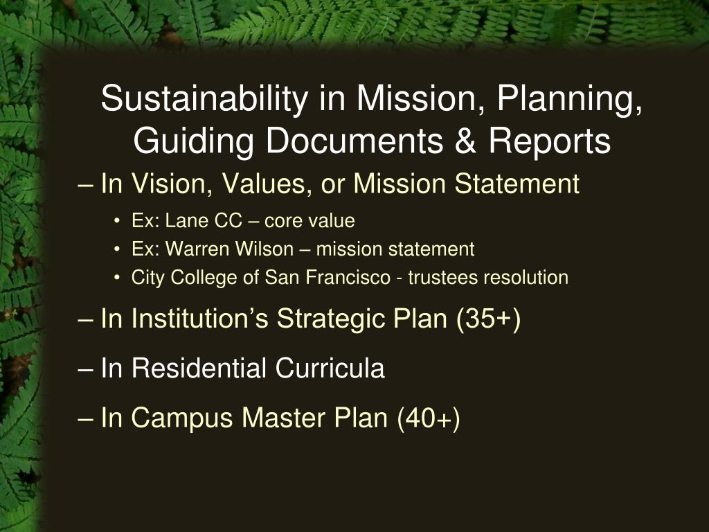 Sustainability in Mission, Planning, Guiding Documents & Reports