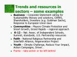 trends and resources in sectors some examples
