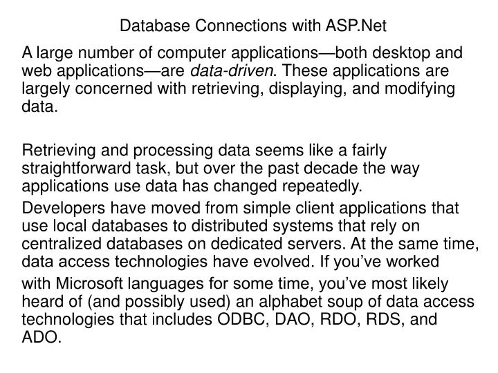 database connections with asp net n.
