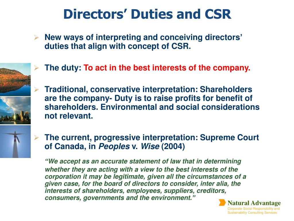 New ways of interpreting and conceiving directors' duties that align with concept of CSR.