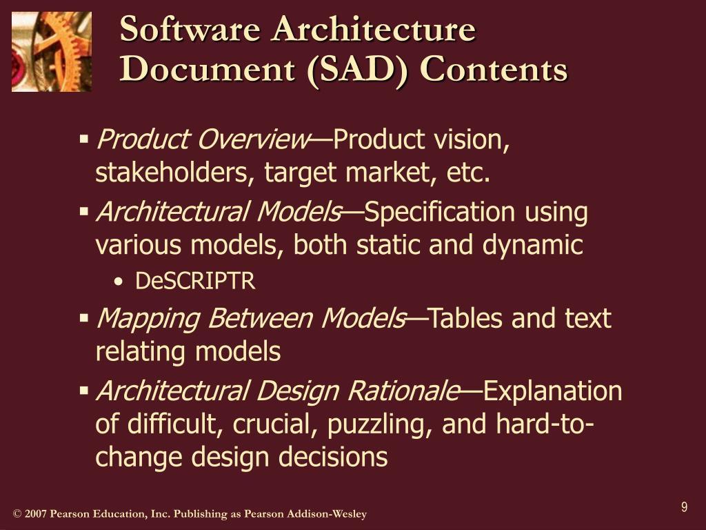 Software Architecture Document (SAD) Contents