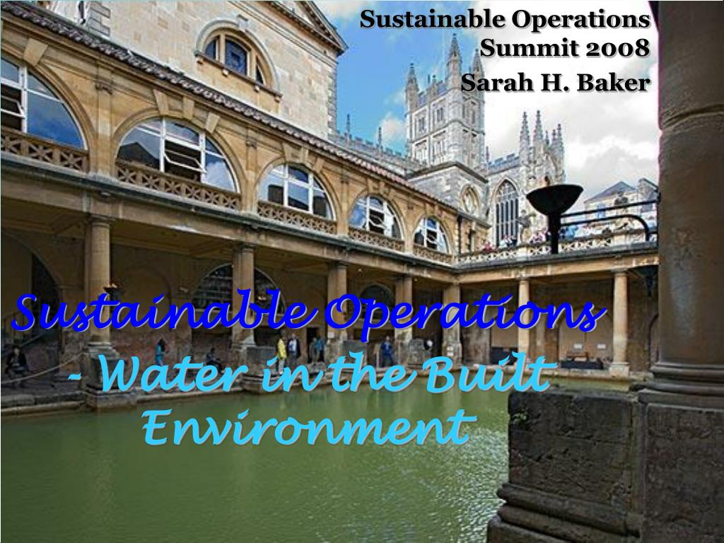 sustainable operations water in the built environment l.