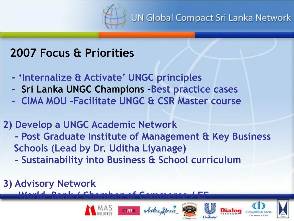 2007 Focus & Priorities