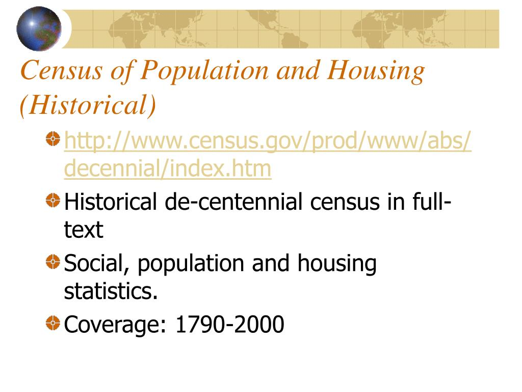 Census of Population and Housing (Historical)