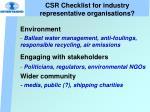 csr checklist for industry representative organisations