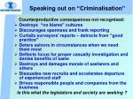 speaking out on criminalisation29