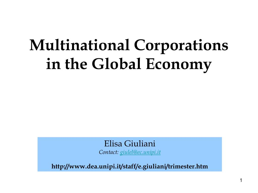multinational corporations in the global economy l.