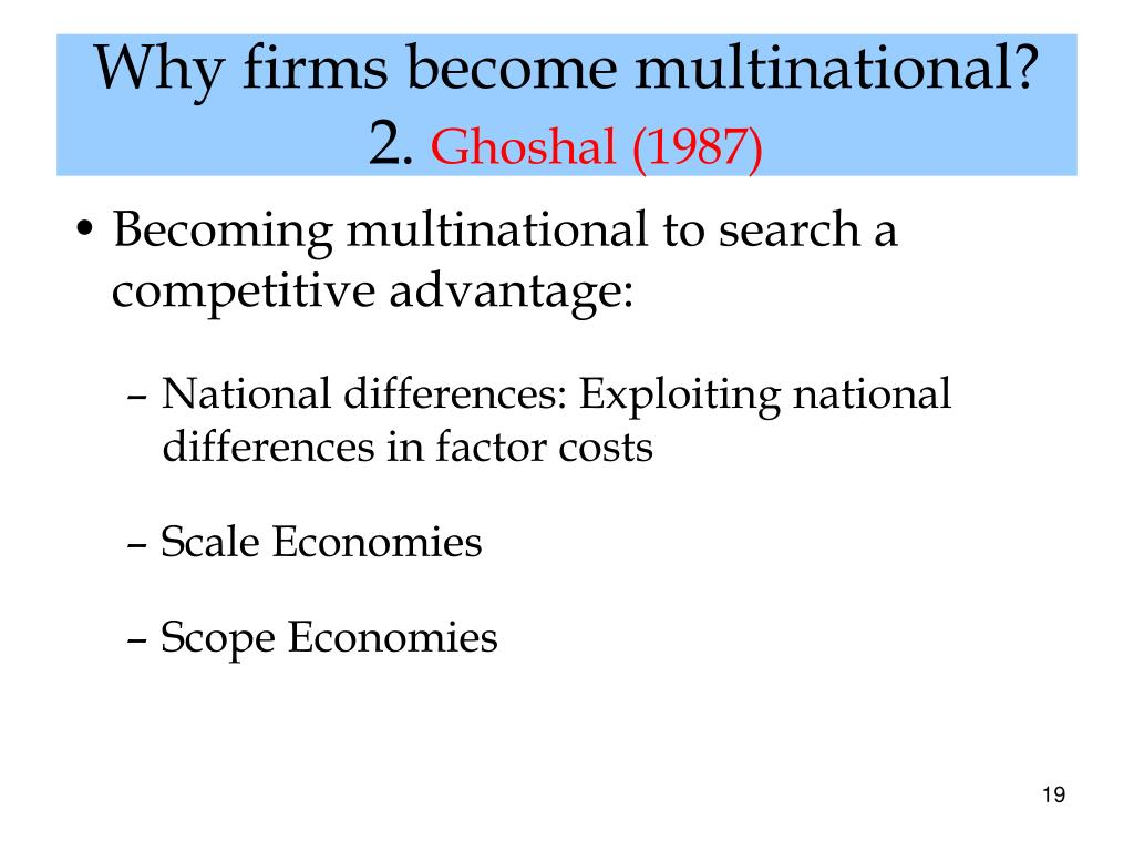 Why firms become multinational?