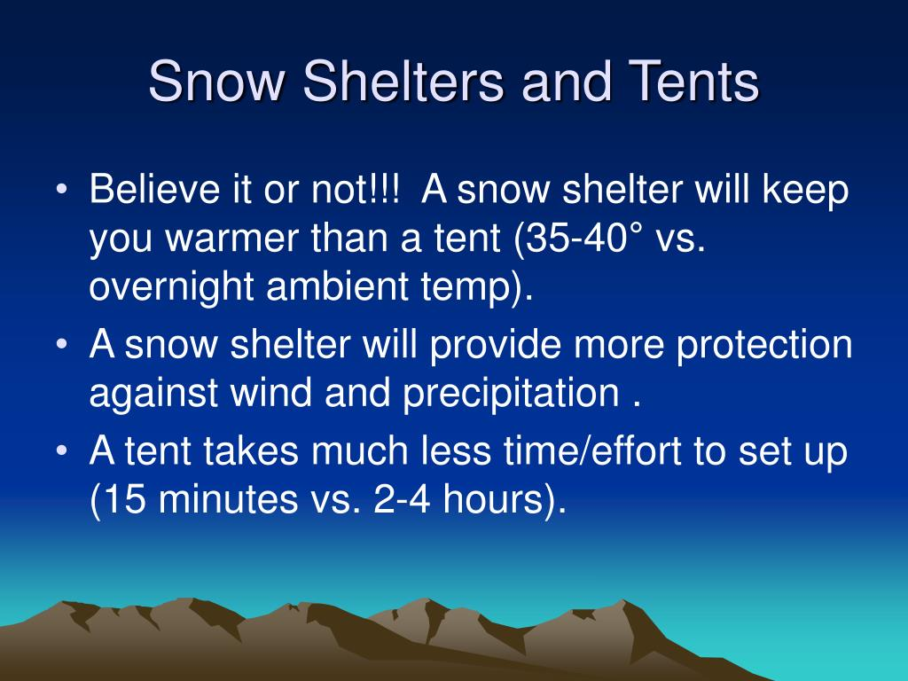 Snow Shelters and Tents