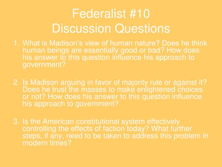 federalist 10 discussion questions n.